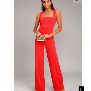 Lulus Red Jumpsuit Size small